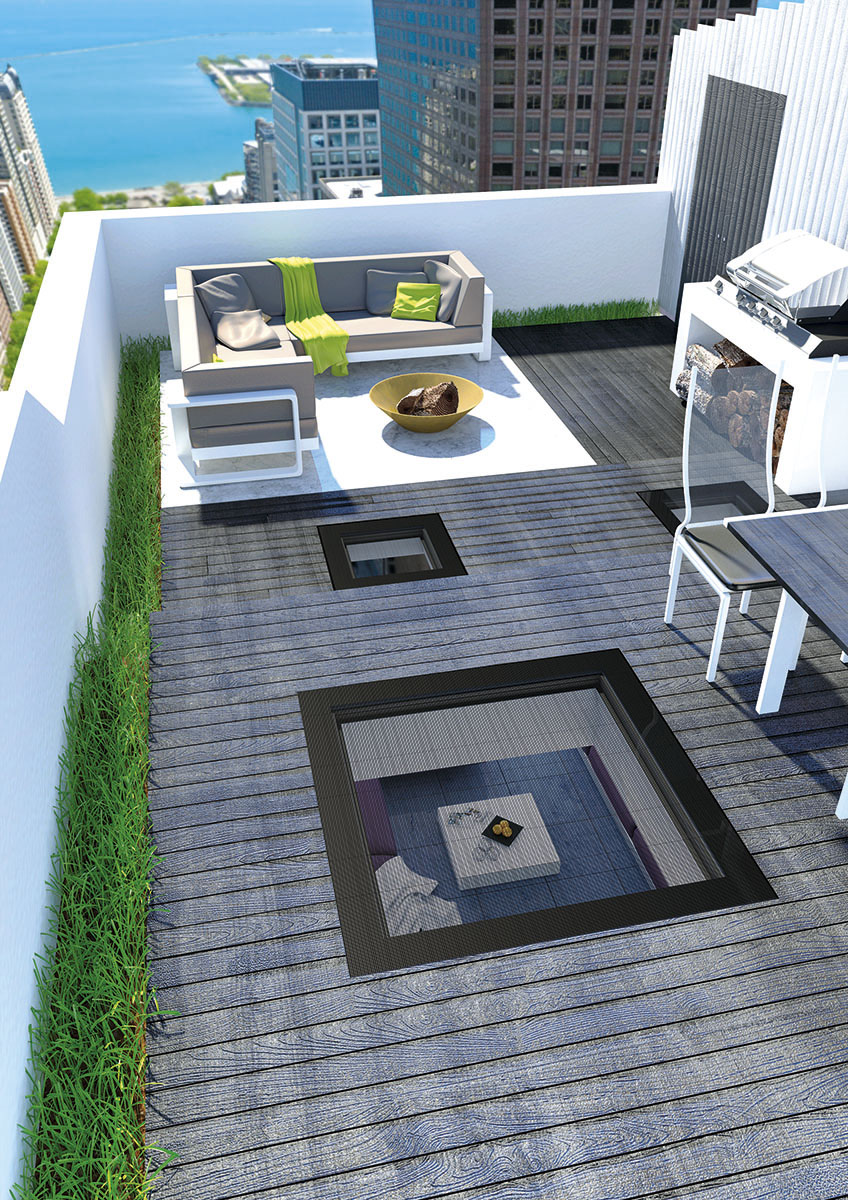 fen tre pour toit plat praticable. Black Bedroom Furniture Sets. Home Design Ideas